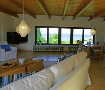 Der Blick vom Ferienhaus Fördeblick auf die Flensburger Förde / Ostsee